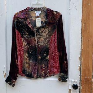 Coldwater Creek Patch Velvet Burnout blouse Size L